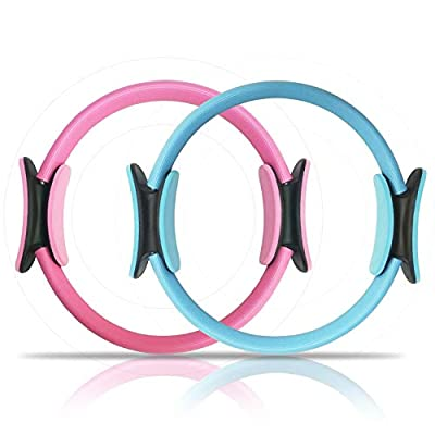 Pilates Ring (Set of 2) -14 inch- Super Cost-Effective Fitness Magic Circle for Beginners, Perfect Pilates Equipment for Toning Thighs, Abs and Legs