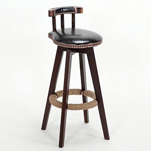 Chaise de bar en bois massif, chaise de bar continental créativité ménage haute tabouret Vintage chanvre corde fauteuil réception chaise chaise décorative 38 * 38 * 72cm (Couleur : G)