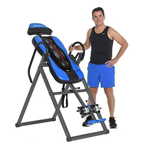 Exerpeutic Inversion Table UL Certified with Heat and Massage Therapy, Blue