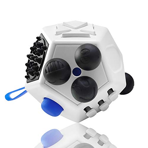 VCOSTORE 12 Sided Fidget Cube, Dodecagon Fidget Toy for Children and Adults, Stress and Anxiety Relief Depression Anti Cube for All Ages with ADHD ADD OCD Autism (White)