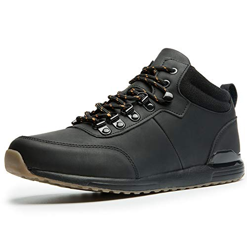 FITONE Men's Work Boots Outdoor Ankle Sneakers Casual Soft-Toe Shoes (10.5, Black)
