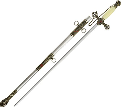 """SZCO Supplies 37"""" Masonic Knight of Templar Replica Ceremonial Long Sword with Adorned Scabbard, White, One Size (926827)"""