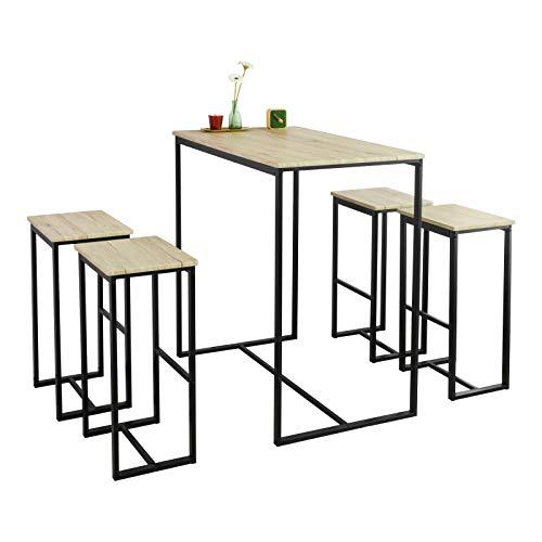 SoBuy OGT15-N Set Mesa Alta de Bar y 4 Taburetes Muebles Bar Comedor ES (OGT15-N)