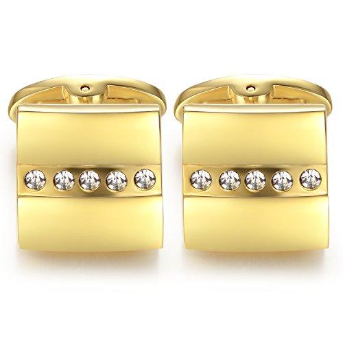 Honey Bear cristal Bouton De Manchette Carré Critaux Or Homme Chemise Poignet Col En Acier Inoxydable Mariage Commercial