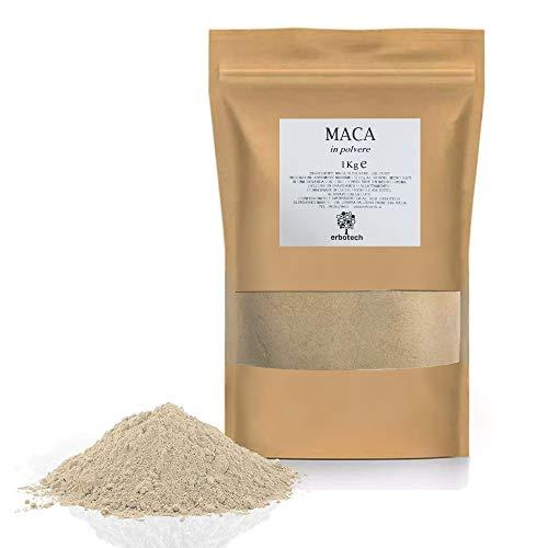 ERBOTECH Maca in Polvere da 1 kg, Adattogeno a Base di Erbe, Supporto per la Vita, Multivitaminico Naturale al 100{6d4712089d688ca227deb23fb9868033e9469cba33cf10fc39c5cb8a3b643e43}, Qualità Premium, Vegan, Made in Italy