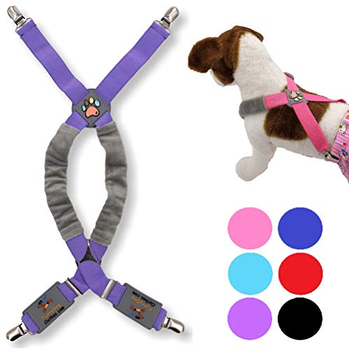 FunnyDogClothes Dog Suspenders for Pet Clothes Apparel Diapers Pants Skirt Belly Bands Small Medium and Large Dogs (XS/M: 9lb - 25lb, Purple)