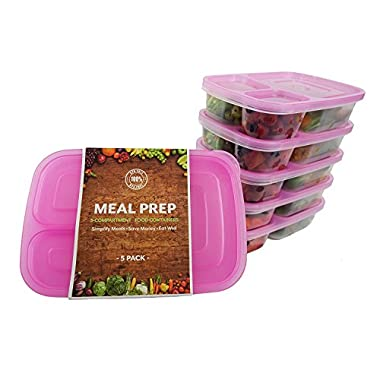 Pink BPA FREE Lunch Containers with Dividers, Stackable 3-Section Bento Boxes