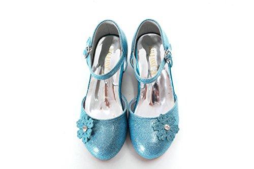 ELSA & ANNA® Mädchen Gute Qualität Schuhe Prinzessin Schnee Königin Gelee Partei Schuhe Sandalen BLU11-SH (Euro 28 - Innenlänge: 18.7cm, BLU11-SH)