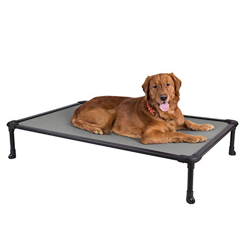 Veehoo Chew Proof Elevated Dog Bed - Cooling Raised Pet Cot - Rustless Aluminum Frame and Durable Textilene Mesh Fabric, Unique Designed No-Slip Feet for Indoor or Outdoor Use, Gray, X Large