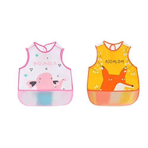 Irypulse Pack de 2 Baberos de Sin manga Alimentación Impermeable para Bebé 0-3 Años, EVA Material Con Bolsillo Para Pintura Comer Jugar Rosa/Naranja