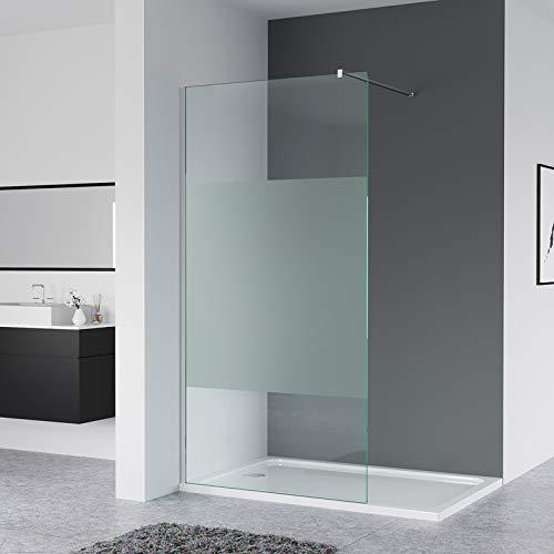 IMPTS Glaswand Dusche 120 x 200cm Walk in Duschwand Duschabtrennung Nano Glas Duschkabine offen mit Stabilisierungsstange