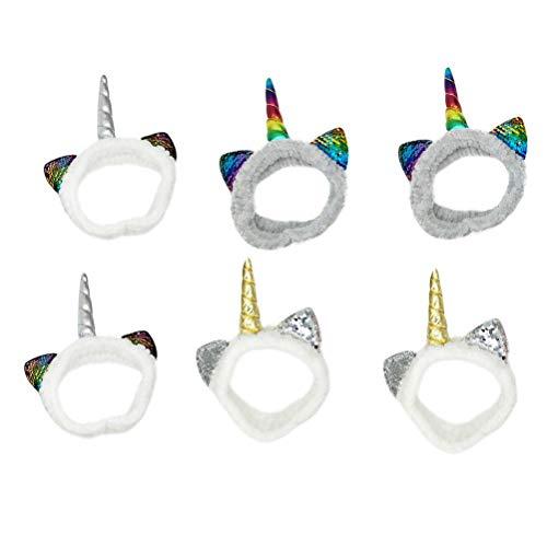 Lurrose 6 stuks pailletten oor zachte hoofdband glitter Unicorn pluche haarband voor gezicht wassen make-up (zilveren hoorn, kleurrijke hoorn, gouden hoorn)