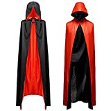 LISOPO Déguisement Cape à Capuchon noir et rouge Halloween Déguisement Costume cosplay pour Halloween Cappa Double Face pour Halloween Vampire Capes Adulte Unisexe Halloween Carnaval Party