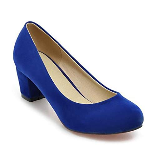 MIOKE Women's Round Toe Chunky Block Mid Heel Pumps Suede Slip-On Casual Comfort Work Office Dress Shoes Royal Blue