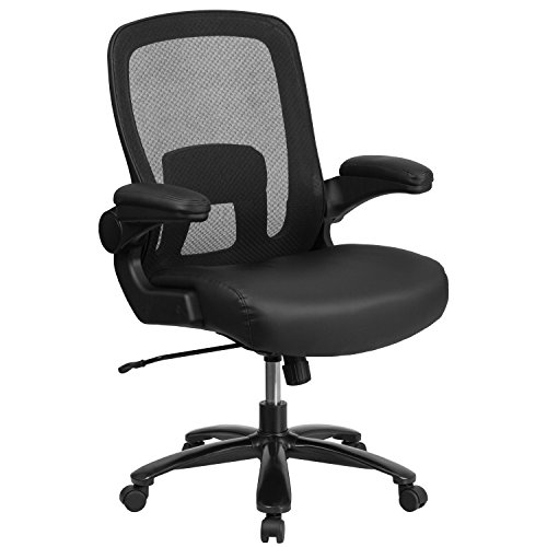 Flash Furniture HERCULES Series Big & Tall 500 lb. Rated Black Mesh/LeatherSoft Executive Ergonomic Office Chair with Adjustable Lumbar, BIFMA Certified