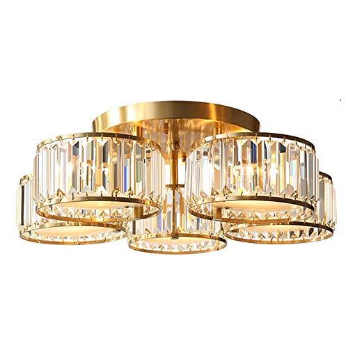 WJ Gold Chandelier, Crystal Pendant Lamp,Retro Lighting Lamp,Kitchen Island Farmhouse Hanging Lamp Ceiling Lamp, 5 Light