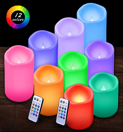 """Flameless Candles Led Pillar Candles Waterproof Outdoor Indoor Candles Color Changing Candles with Remote Control and Timer Pack of 9(D3"""" x H4""""5""""6"""")(Battery not Included)"""