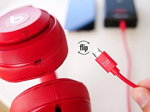 equinux tizi flip - Micro USB (2m, rot) Daten- und Ladekabel mit doppelseitigen Reversible Steckern. Micro USB und USB-A beidseitig steckbar. Kabel mit umkehrbaren Micro-USB Anschlüssen.