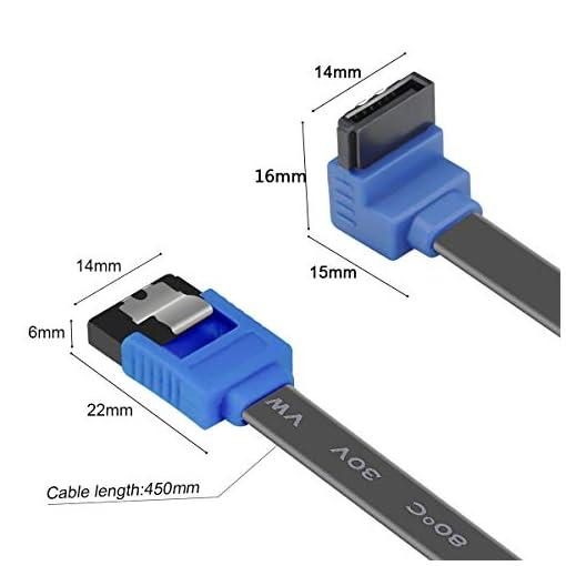 BENFEI Cable SATA III,3 Unidades, 6 Gbps, ángulo Recto de 90 Grados, con Cierre de Cierre, 45,72 cm, para Disco Duro… 4