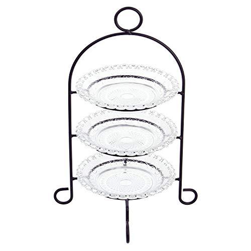 Etagere 3-stöckig aus Metall, mit Glastellern, Servierplatte, Gebäckschale