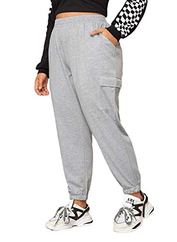 SweatyRocks Women's Plus Size Elastic Waist Pants Running Jogger Sweatpants with Pockets Light Grey 4XL
