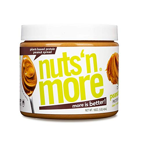 Nuts 'N More Plant Based Peanut Butter Spread, All Natural High Protein Nut Butter Healthy Snack, Omega 3's and Antioxidants, Low Carb, Low Sugar, Gluten Free, Non GMO, Preservative Free, 16 oz Jar