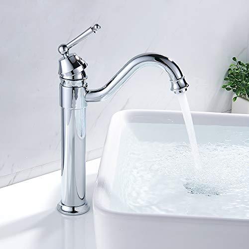 Mezclador de baño alto monomando con agua fría y caliente grifo baño lavabo para grifo mezclador lavabo alto y lavabo baño