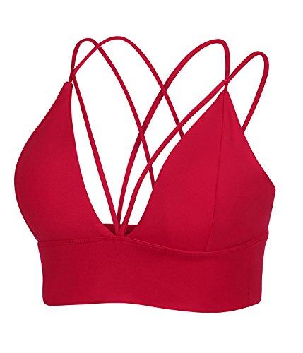 MotoRun Womens Push-up Padded Strappy Sports Bra Cross Back Wirefree Fitness Yoga Top Red-383 M