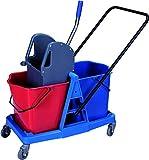 Carrello per le pulizie con doppio secchio da 25 litri e strizzatore Carrello per le pulizie professionale, con ruote e doppio secchio.