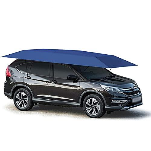 Gmjay Paraguas Portátil para Carpa de Automóvil, Toldo Semiautomático Plegable para Protección de Automóvil con Parasol Anti-UV, a Prueba de Agua, a Prueba de Viento en Nieve,Blue,2.2x4.2M