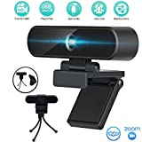 Webcam with Microphone, Computer Camera HD 1080P,USB Plug & Play Streaming Autofocus Webcams for Pc Mac Laptop Desktop,for YouTube Skype Live Broadcast Video Conference