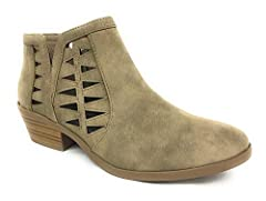 "Synthetic Synthetic sole Platform measures approximately 0.25 Stacked block heel ankle booties 1.5"" heel, 0.25"" platform"