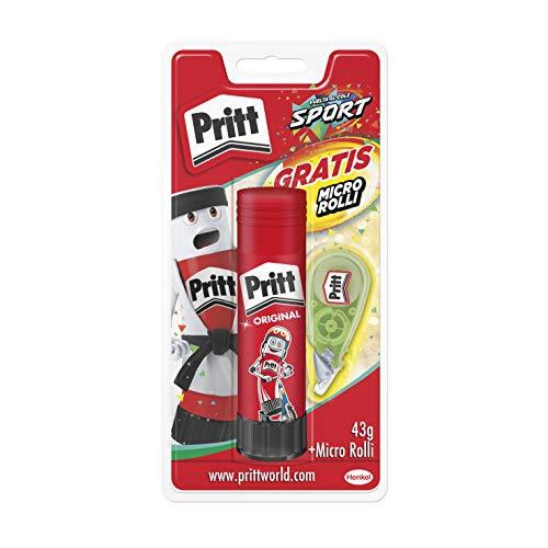 Pritt Barra Adhesiva + Corrector Micro Roller, pegamento infantil y corrector blanco, accesorios para estuche escolar y oficina, 43 g (Pritt Stick) y 5mm x 6m (corrector)