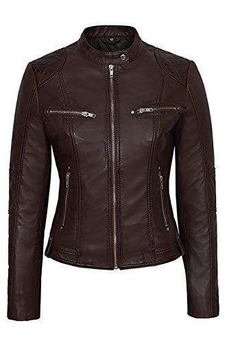 Boots and Leather Damen 4520 braun Slim Fit Suede Sheep Biker Napa echten weichen Lederjacke (UK 10 / EU 38)