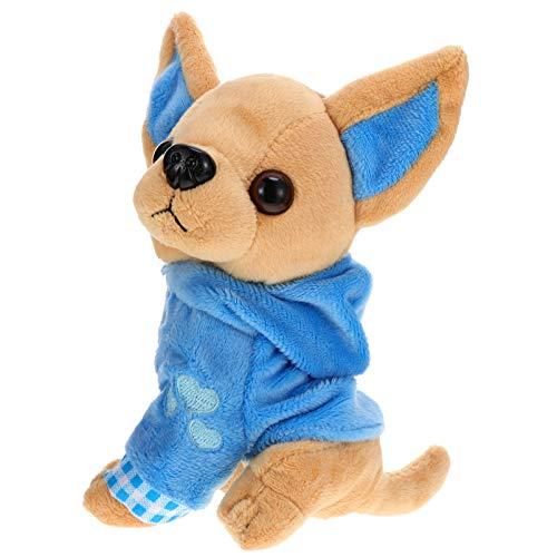 SOIMISS Peluche Chihuahua Perro Cachorro Juguete Felpa Peluches con Ropa Azul Regalo de Cumpleaños para Niños