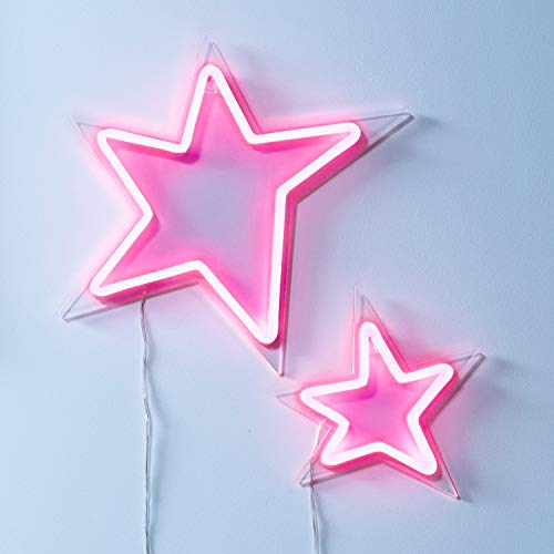Lights4fun LED Neon Stern Duo pink 87cm 230V Außenbereich