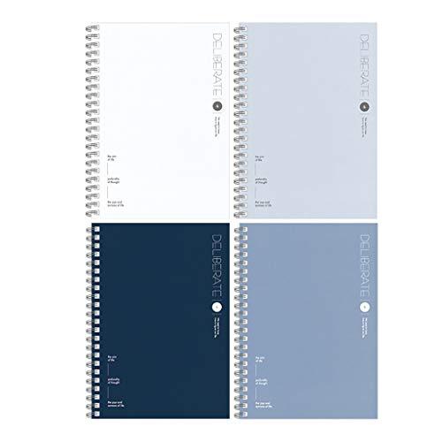 Multifuncional Journal 4 paquete de A5 clásico Notebook, Tapa dura Tapa blanda espiral Cuaderno encuadernado Cuaderno Campus Diario Clip de hojas sueltas for el trabajo del estudiante Classic Diario