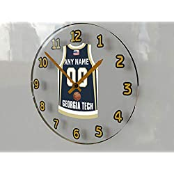 FanPlastic College Basketball USA - We're Number ONE College Hoops Wall Clocks - Support Your Team !!! (Georgia Tech Yellow Jackets)