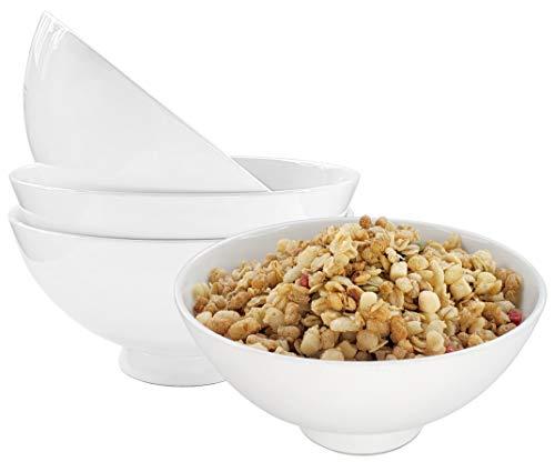 EQUIPT Porzellan Müslischalen Set 4-Teilig Weiss aus Bone China   Füllmenge 650ml   Ideal als Müslischüssel, Eisschale, Snackschale, Dessertschale UVM.