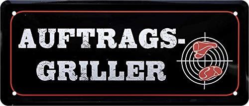 """Cartel de chapa divertido con texto en alemán """"AUFTRAGS-Griller"""" decorativo cartel de metal para jardín o terraza, idea de regalo para cocineros 28 x 12 cm"""