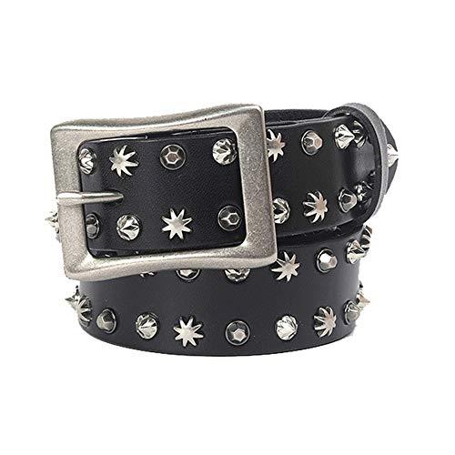 Cinturón con tachas Accesorios de remache de locomotora personalizados Cinturón Hebilla de cinturón Hombres y mujeres Cinturón de cuero Cinturón Cinturón punk unisex ( Color : Black , Size : 105cm )