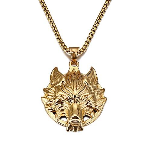LGYKUMEG Cadenas para el Collar Colgante de la Cabeza del Lobo Joven del Vintage de los Hombres con...