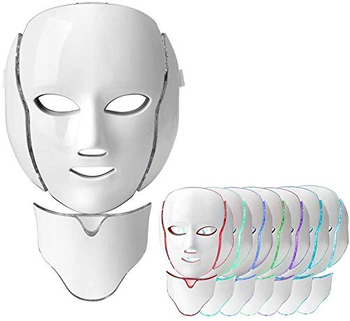 CCDSR-LED gezichtsmasker 7 kleur lichttherapie masker collageen anti-veroudering aanscherping littekens bleken schoonheid LED gezichtsmasker met nek masker instrument