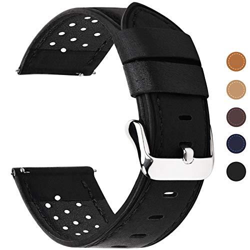Fullmosa 6 Farben für Uhrenarmband 20mm mit Schnellverschluss, Breeze Serie Leder Ersatzband für Smartwatch Samsung Armband,20mm Schwarz