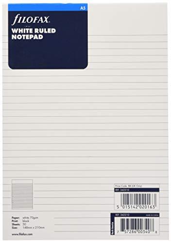 Filofax Bloc notes Feuilles lignées Blanc A5 (Import Royaume Uni)