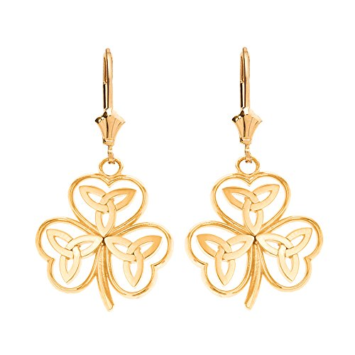 Solid 10k Yellow Gold Irish Shamrock Earrings with Celtic Trinity Knot