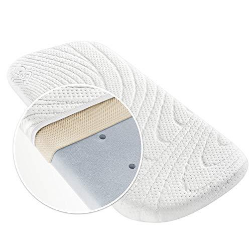 Alvi matelas pour landau, nacelle, couffin TENCEL® Dry - 75 x 33 cm, housse avec protection d'humidité, canaux d'air verticaux, coussin d'air 3D, anti-allergénique, sans substances nocives