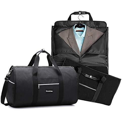CANWAY Bolsa Portatrajes Funda de Viaje para Traje Bolso Porta Trajes Garment Bag con Compartimentos para Zapatos y Correa Ajustable para Hombro Ideal para Negocios Hombres Mujeres Negro 60L