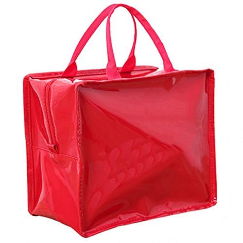 Sac cosmétique Multi-fonction Portable Voyage Simple Sac De Rangement Cosmétique Corée Portable Grande-capacité Sac Cosmétique Trompette (Color : RED, Size : 27 * 15 * 23CM)