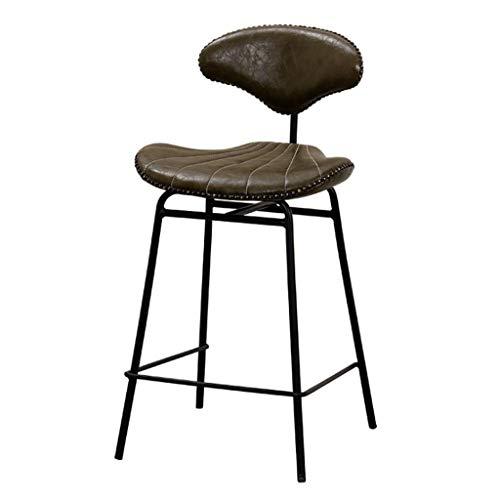 LXYPLM Taburetes de Bar Muebles Industrial Metal PU Cuero Taburete de Bar con Respaldo Desayuno Cocina Bistro Cafe Silla de Asiento rústico Vintage